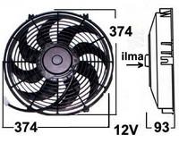 Vapaatuuletin 12V puhaltava 345 mm