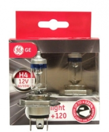 GE H4 12V 55W Ultra Mega Light +120% (2 kpl)