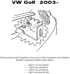 Lisävalojen kiinnikesarja VW Golf V 03-