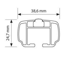 Taakkateline integroituihin kattokaiteisiin alu Nowa M 120 cm