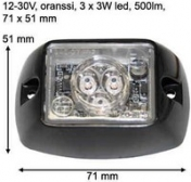 Mini LED-majakka/varoitusvalo 12-30V